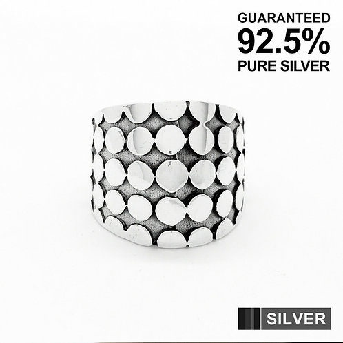 925 Sterling Silver Multi Dot Patterned Keepers Ring / Solid / Oxidised