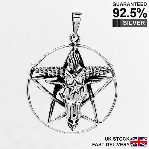 925 Sterling Silver Goat Baphomet Satanic Pentagram Star Pendant / Quality