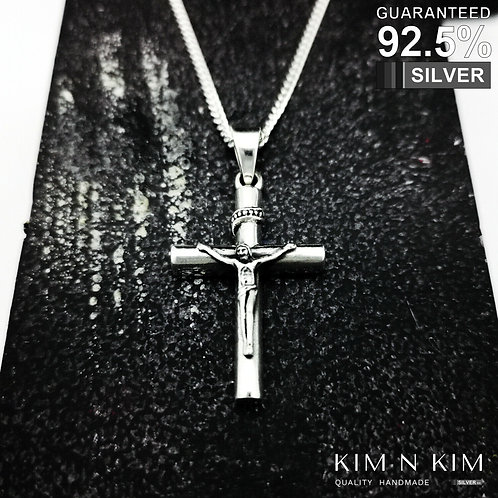 925 Sterling Silver Thick Heavy Crucifix Jesus Cross Pendant Necklace / Solid