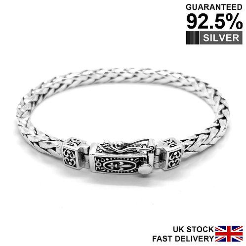 925 Sterling Silver Fleur De Lys Foxtail Braided Bracelet / Quality / Solid