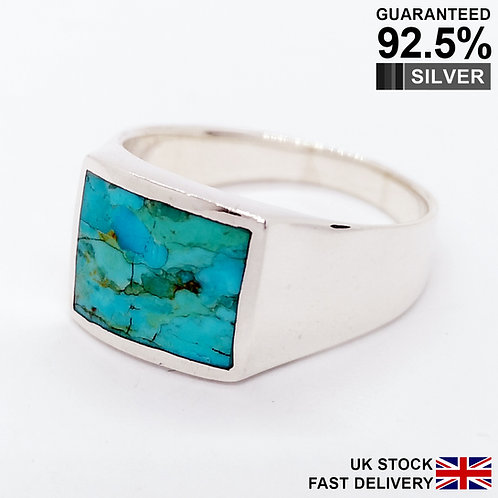 925 Silver Turquoise Gemstone Rectangular Signet Ring / Quality / Comfort Fit