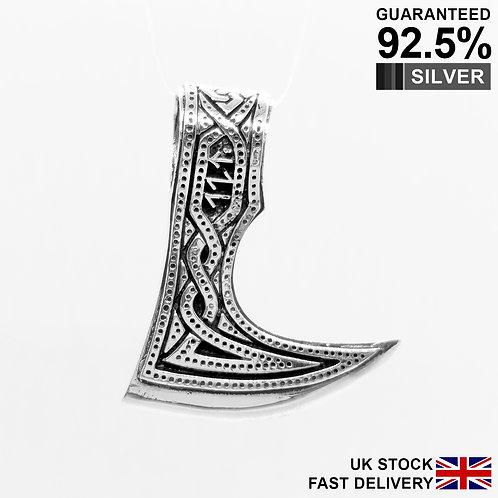 925 Sterling Silver Large Axe Raven Berserk Norse Viking Amulet Pendant