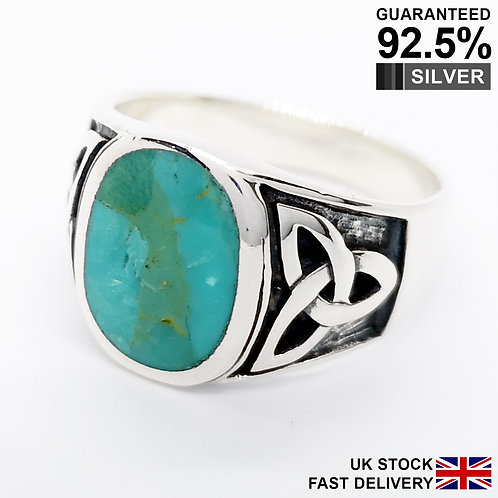 925 Silver Turquoise Gemstone Celtic Irish Knot Triquetra Oval Signet Ring