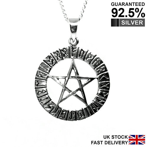 925 Sterling Silver Pentagram In Rune Circle Neo Pagan Pendant / Quality