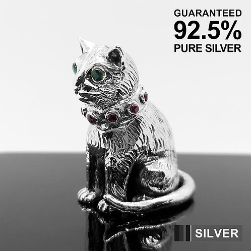 925 Sterling Silver Miniature Cat Animal Figurine with Stone / Solid / Quality