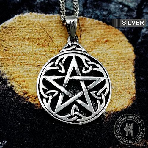 Wicca Neo Pagan Celtic Triquetra Pentagram Pentacle Pendant Necklace /925 Silver