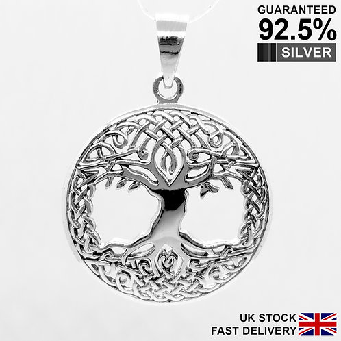 925 Sterling Silver Tree Of Life In Celtic Circle Pendant / Solid / Quality