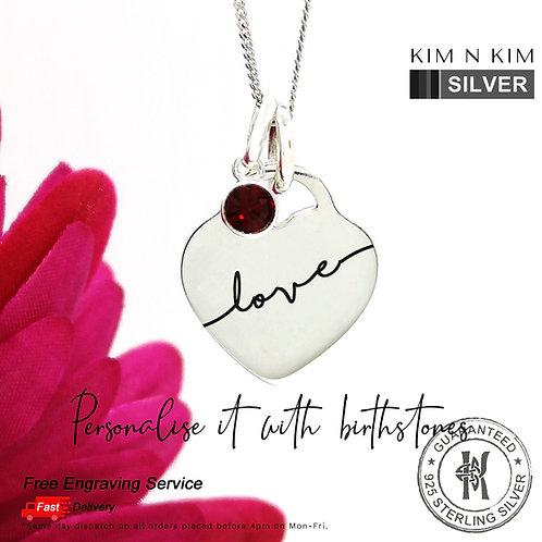 925 Silver Heart Tag Birthstone Pendant Necklace, Kid, Children, Friend, Mum