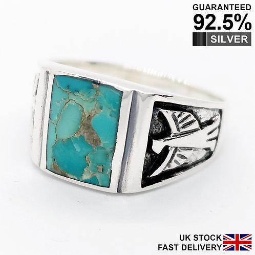 925 Silver Turquoise Gemstone Hawk Eagle Rectangular Signet Ring / Quality