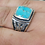 Thumbnail: 925 Sterling Silver Turquoise Hawk Ring / Quality / Solid