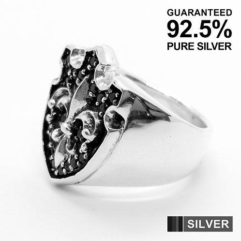 925 Sterling Silver Fleur De Lys Shield With Black CZ Signet / Quality / Gothic