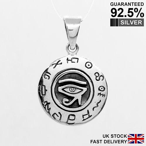 925 Silver Egyptian Eye of Horus God Ra Rah Pendant / Quality / Solid