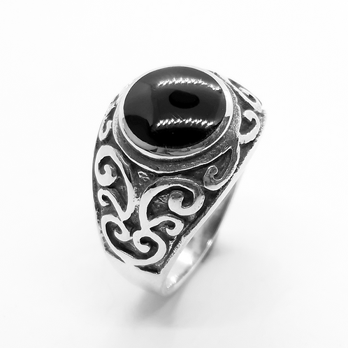 Onyx Filigree Ring / 925 Sterling Silver, Blackened, Solid