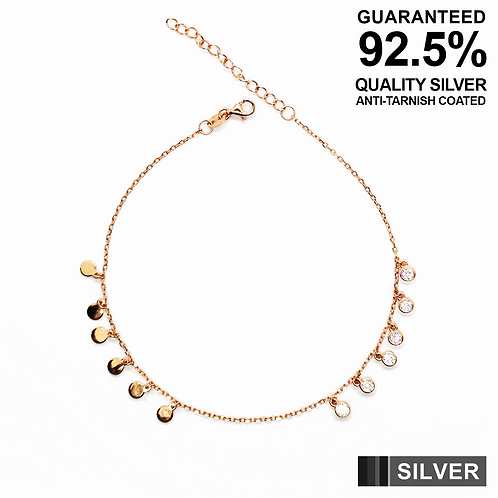 925 Silver Anklet with Small Coins & round CZ solitaires / Rose gold plated