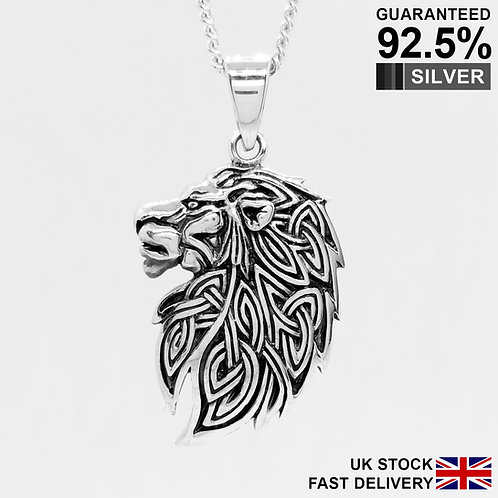 925 Sterling Silver Celtic Knot Lion Head Triquetra Pendant / Neo Pagan / Solid