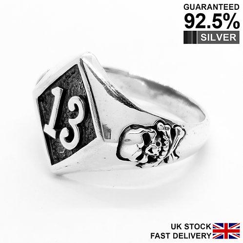 925 Silver Lucky 13 Thirteen Diamond Skull Rock Biker Ring / Quality / Solid