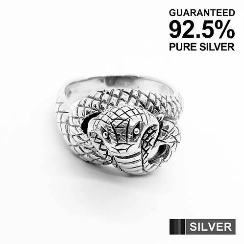925 Sterling Silver 3D Cobra Snake Gothic Ring / Solid / Oxidised
