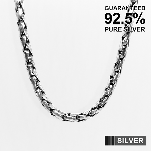 22.5 Inch 925 Sterling Silver Brushed Spiga Chain Necklace / Solid