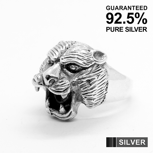 925 Sterling Silver 3D Jaguar's Head Ring / Solid / Oxidised