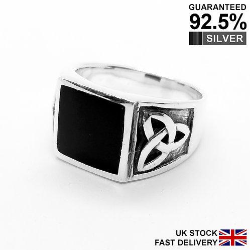 925 Silver Black Onyx Gemstone Celtic Irish Knot Triquetra Signet Ring / Comfort