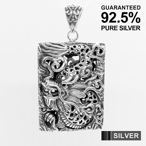 925 Sterling Silver Large Dragon Rectangle Amulet Medal Pendant /Solid /Quality