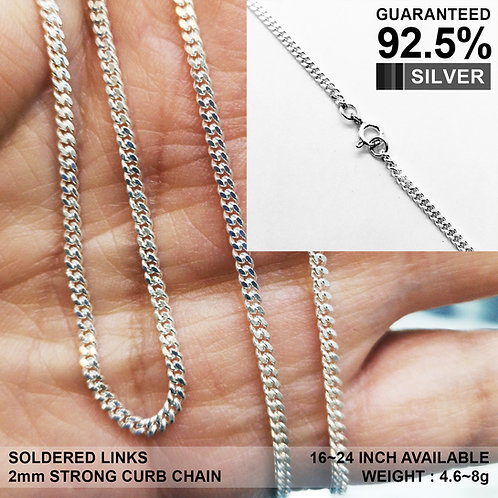 925 Sterling Silver 2mm Curb Chain Necklace / Solid / Strong