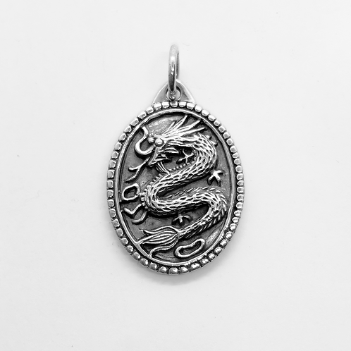 Oval Dragon Pendant / 925 Sterling Silver, Blackened, Solid