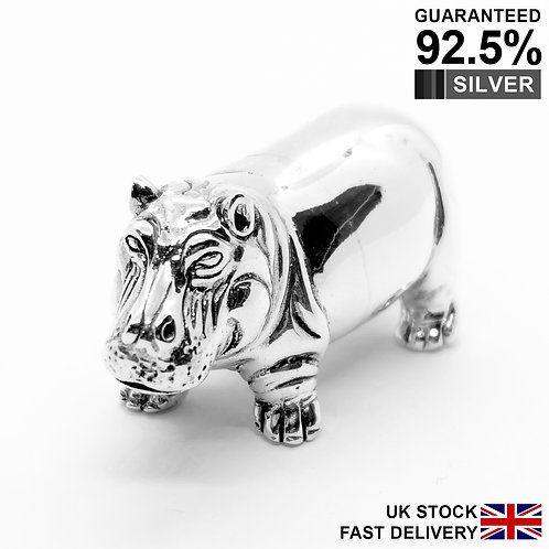 925 Sterling Silver Miniature Hippo Animal Figurine / Solid / Quality
