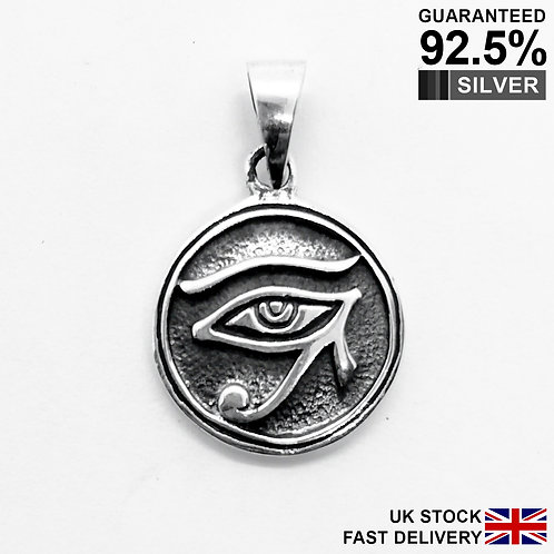 925 Silver Egyptian Eye of Horus God Ra Rah Pendant / Quality / Solid