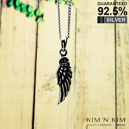 925 Sterling Silver Guardian Angel Wing Pendant Necklace / Solid / Quality