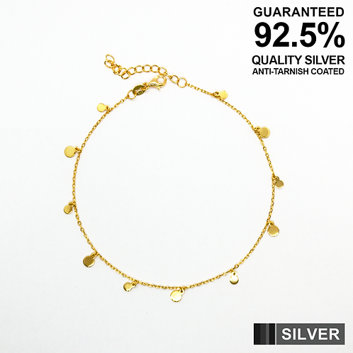 925 Silver Anklet with Small Coins / Gold Plated / Quality / Anti-Tarnish Coated