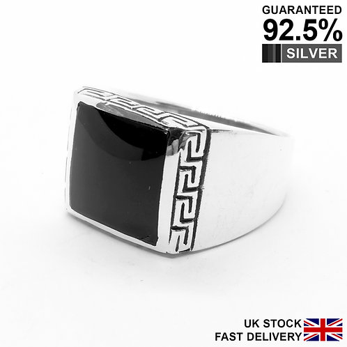 925 Sterling Silver Black Onyx Gem Greek Key Square Signet Ring / Oxidised