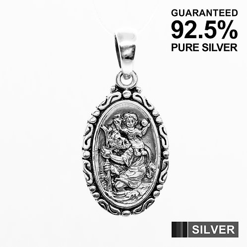 925 Sterling Silver SAINT ST CHRISTOPHER Protection Oval Pendant / Solid/Quality