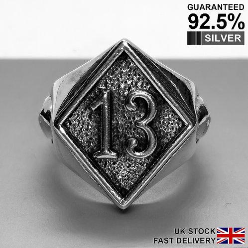 925 Silver Lucky 13 Thirteen Diamond Skull Rock Biker Gothic Ring /Quality/Solid