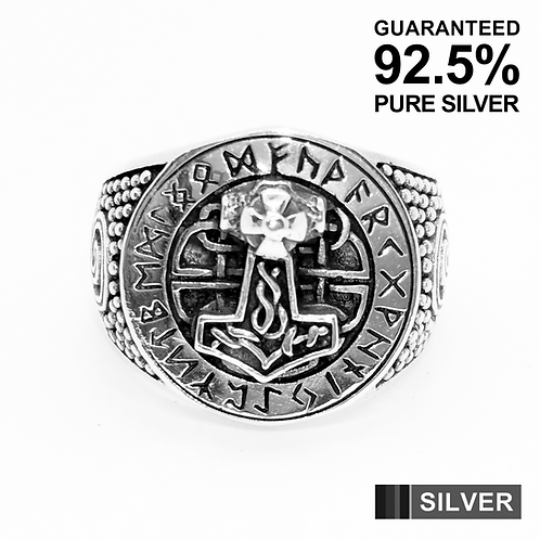 925 Sterling Silver THOR Hammer with Celtic Runes Ring / Oxidised / Solid