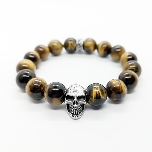 Tiger's Eye Stone Skull Head Beads Bracelet / 925 Sterling Silver, Blackened