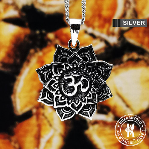 Lotus Flower & Om Pendant Necklace /Buddhism/Aum/Ohm/ Solid 925 Sterling Silver