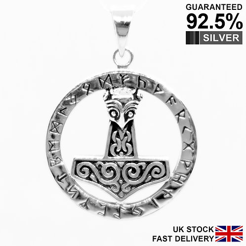 925 Sterling Silver Thor's Hammer Mjolnir Norse Viking Runes Circle Pendant