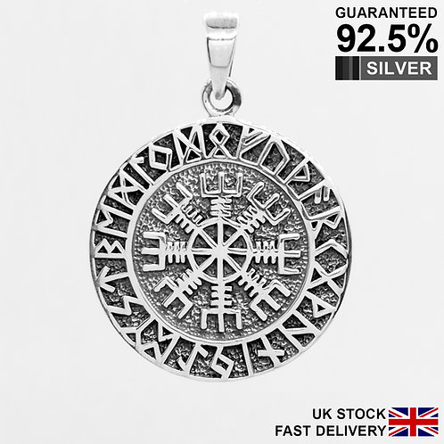 925 Silver Helm of Awe Vegvisir Norse Viking Compass Rune Pendant / Flat