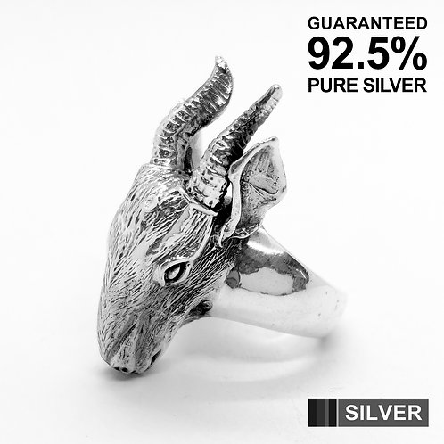 925 Sterling Silver Baphomet Goat Ring / Quality / Solid