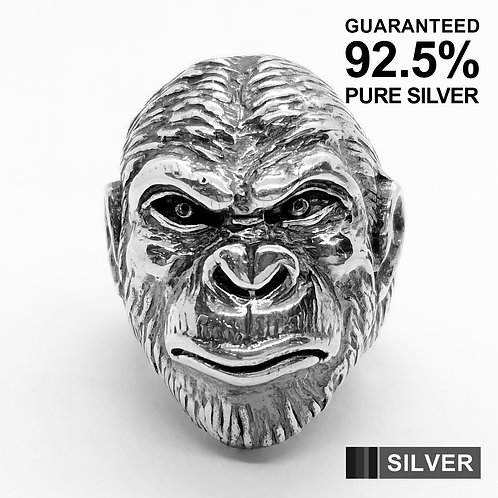 925 Sterling Silver Gorilla's Head Ring / Quality / Solid / Heavy
