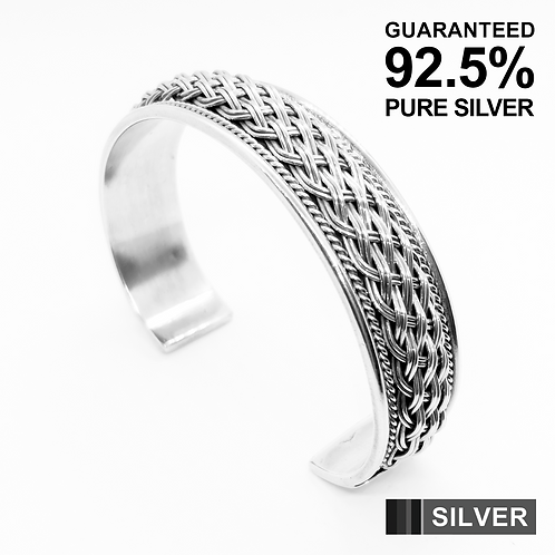 925 Sterling Silver Braided Wire Open Cuff Bangle /Heavy /Solid /Oxidised