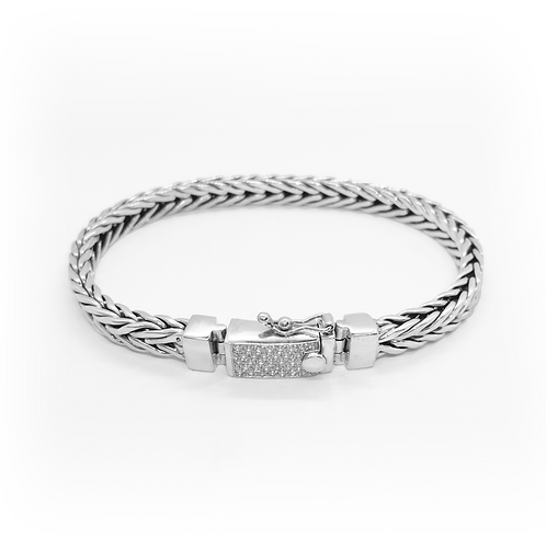 Foxtail Link with CZ Bracelet / 925 Sterling Silver