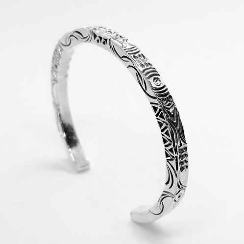 Solid Pattern Open Cuff Bangle / 925 Sterling Silver, Blackened, Solid