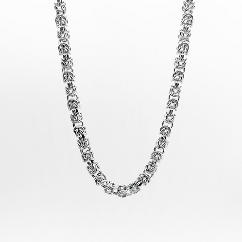 Byzantine Link Necklace Chain / 925 Sterling Silver, Solid