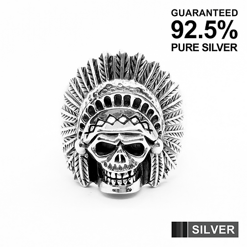 925 Sterling Silver 3D RED INDIAN CHIEF SKULL Head Ring / Solid / Oxidised