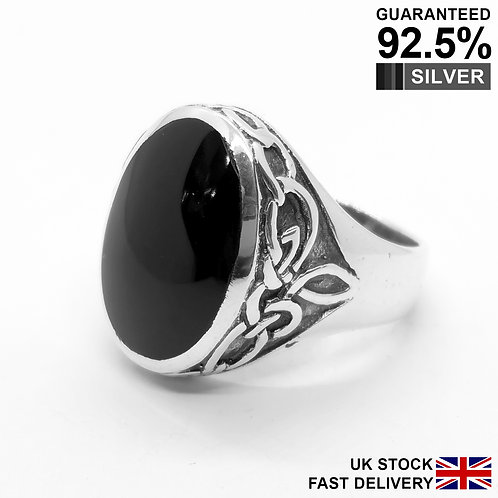 925 Sterling Silver Black Onyx Gem Celtic Knot Oval Signet Ring / Quality