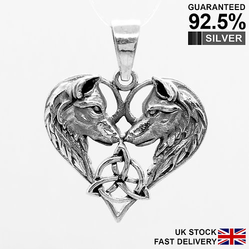 925 Sterling Silver Wolves Eternal Love Triquetra Celtic Pagan Pendant / Quality