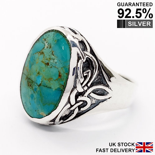 925 Silver Turquoise Gemstone Celtic Knot Oval Signet Ring / Quality / Solid