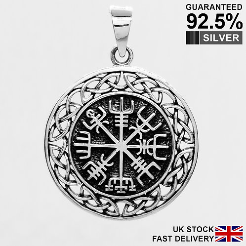 925 Sterling Silver Celtic Helm of Awe Vegvisir Norse Viking Compass Pendant